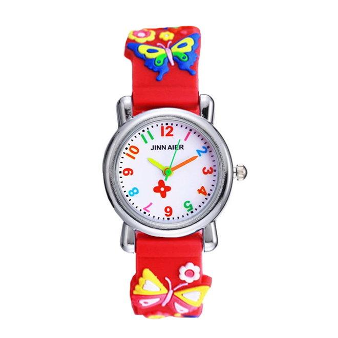 Kinder Horloge   Vlinder Rood 3D