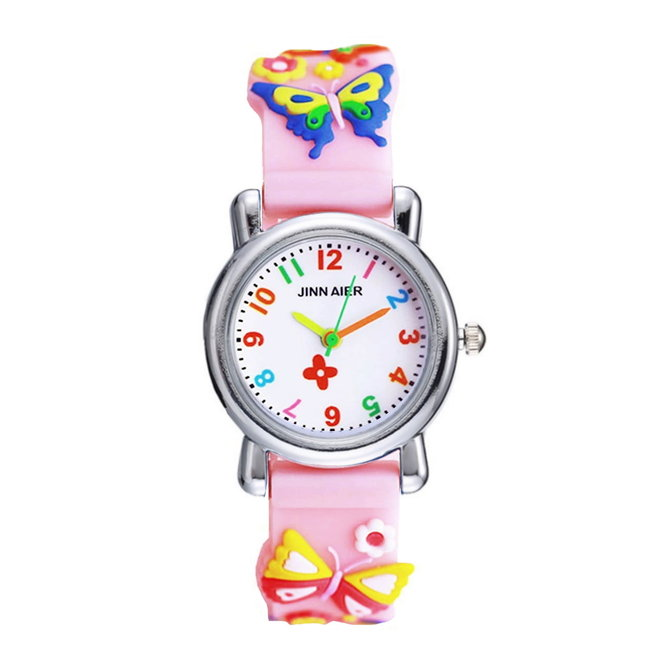 Kinder Horloge | 3D Vlinder Roze | Siliconen