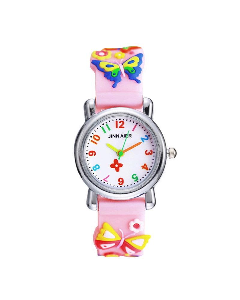 Fashion Favorite Kinder Horloge   3D Vlinder Roze   Siliconen