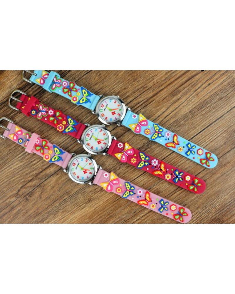 Fashion Favorite Kinder Horloge | 3D Vlinder Blauw | Siliconen