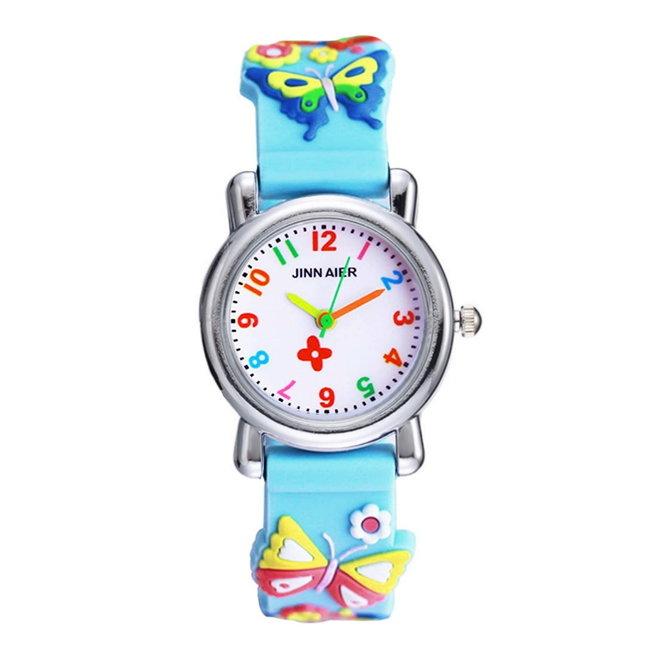 Kinder Horloge | 3D Vlinder Blauw | Siliconen