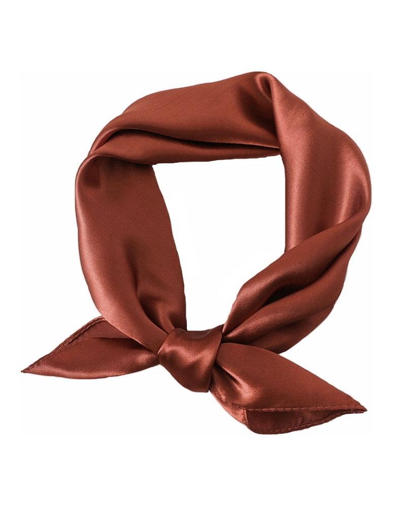 Fashion Favorite Satijnen Bandana / Zakdoek Roest   Polyester - Satijnlook    60 x 60 cm