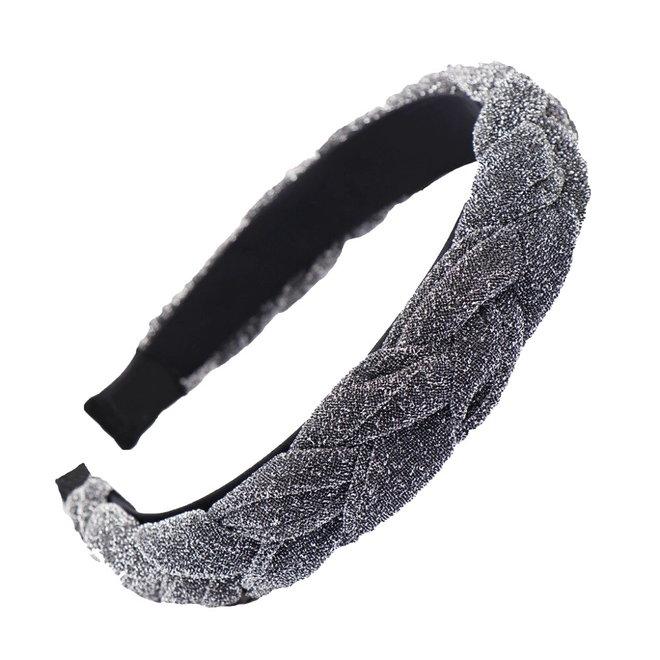 Velvet / Glitter Diadeem / Haarband - Zilver