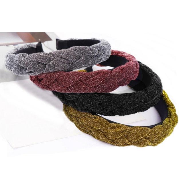 Velvet / Glitter Diadeem / Haarband - Zwart