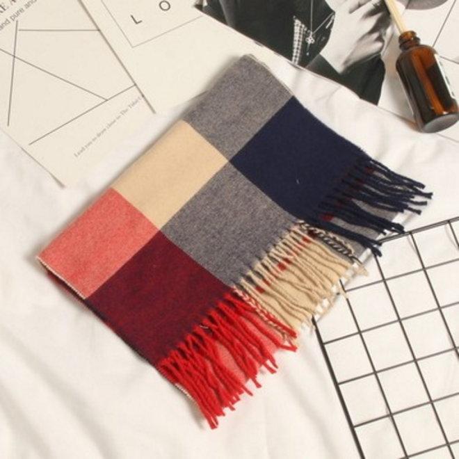 Ruit Sjaal - Rood/Blauw/Beige