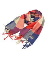 Fashion Favorite Ruit Sjaal - Rood/Blauw/Beige
