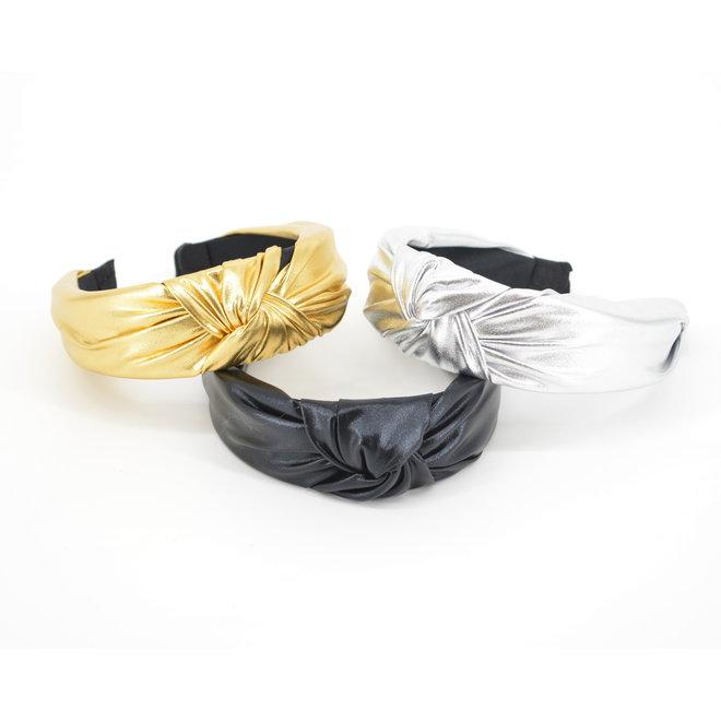 Metallic Diadeem / Haarband | Zwart | Kunstleer | Fashion Favorite