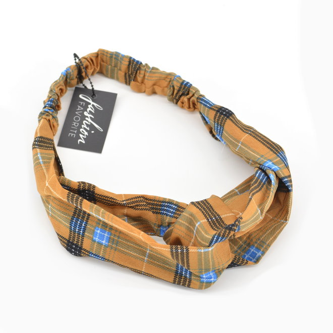 Haarband Print | Tartan Bruin | Elastische Bandana