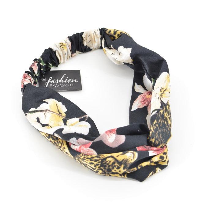 Haarband Leopard - Luipaard / Bloem Zwart   Satijn - Polyester   Elastische Bandana