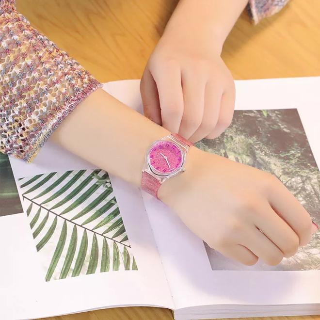 Shiny Kinderhorloge Roze | Glitter | Kunststof/Plastic