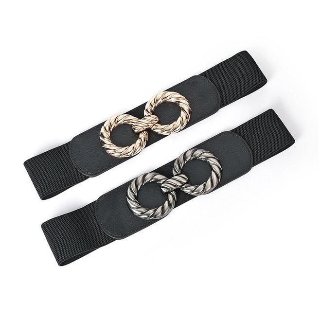 Elastische Riem   Twisted Zilver   Elastan / Polyester   Fashion Favorite