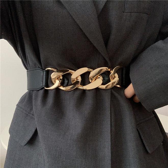 Elastische Riem   Schakel Goud   Polyester / Elastaan   Fashion Favorite