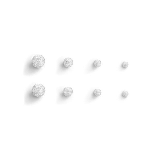Zilveren Matte Stud Balls/Knopjes   Sterling 925 Silver   Set van 4 paar