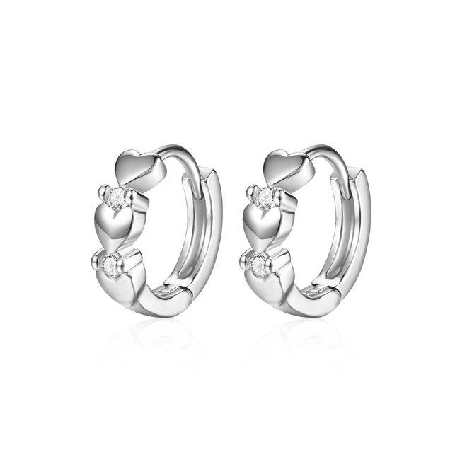 Zilveren Zirkonia Love Oorbellen | Klapoorringen | 10 mm x 3,5 mm | Scharniersluiting