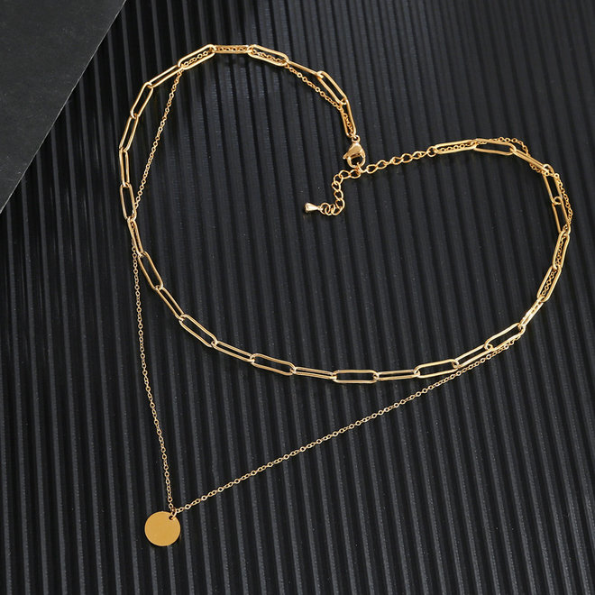Schakel / Coin Ketting | Goud | 36 + 5 cm | Metaal | Fashion Favorite