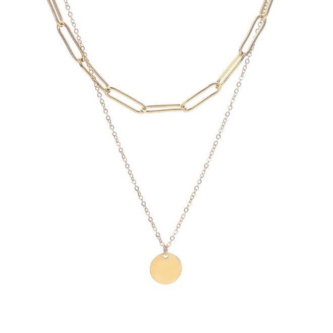 Schakel / Coin Ketting - Goud