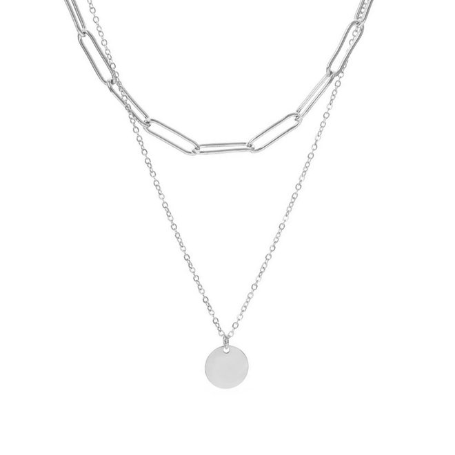 Schakel / Coin Ketting - Zilver