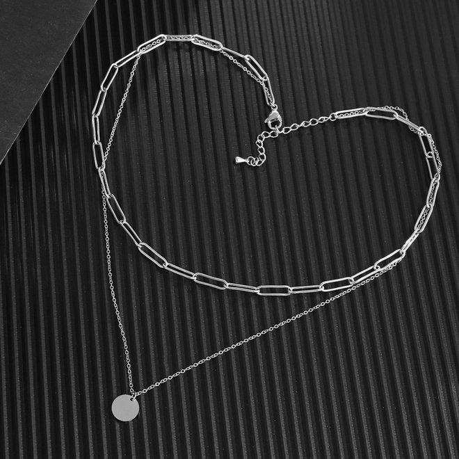 Schakel / Coin Ketting | Zilver | 36 + 5 cm | Metaal | Fashion Favorite