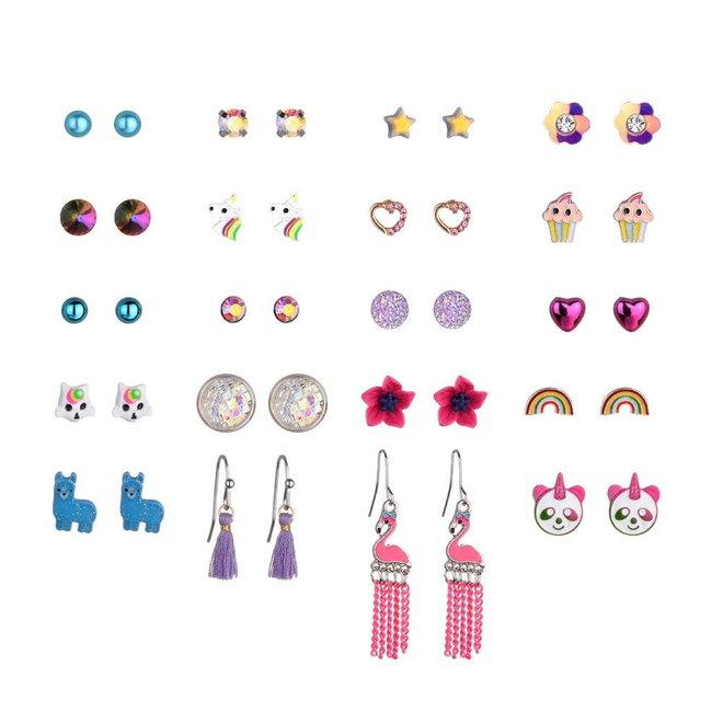 Stud Oorbellen | Candy Color | Bijoux | Set 20 Paar