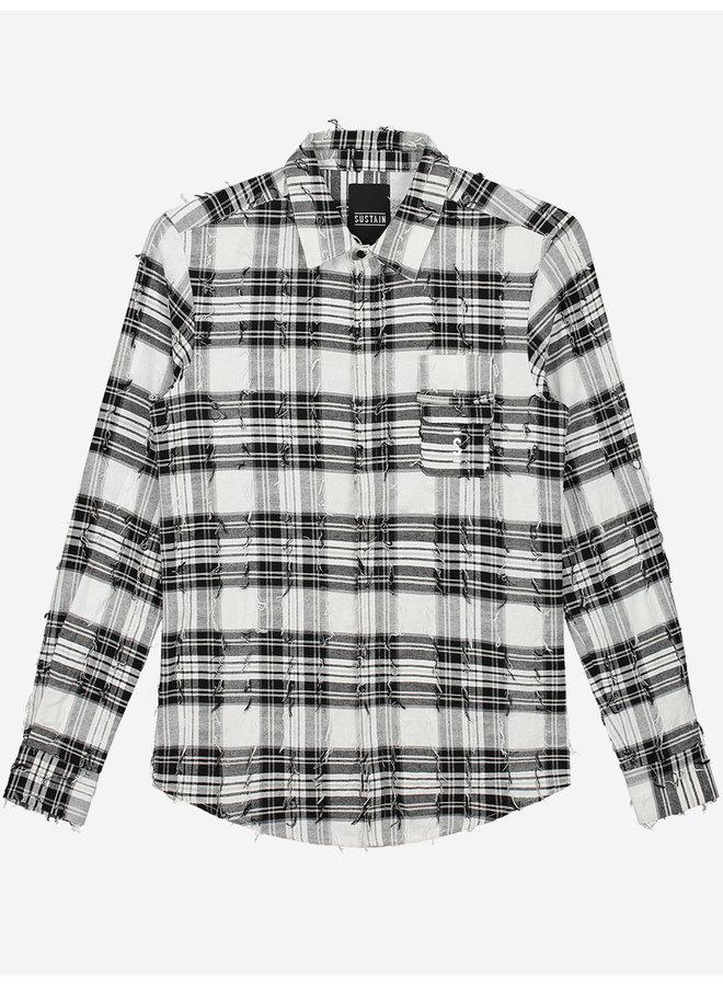 Sustain  Check Logo Shirt - Black/White
