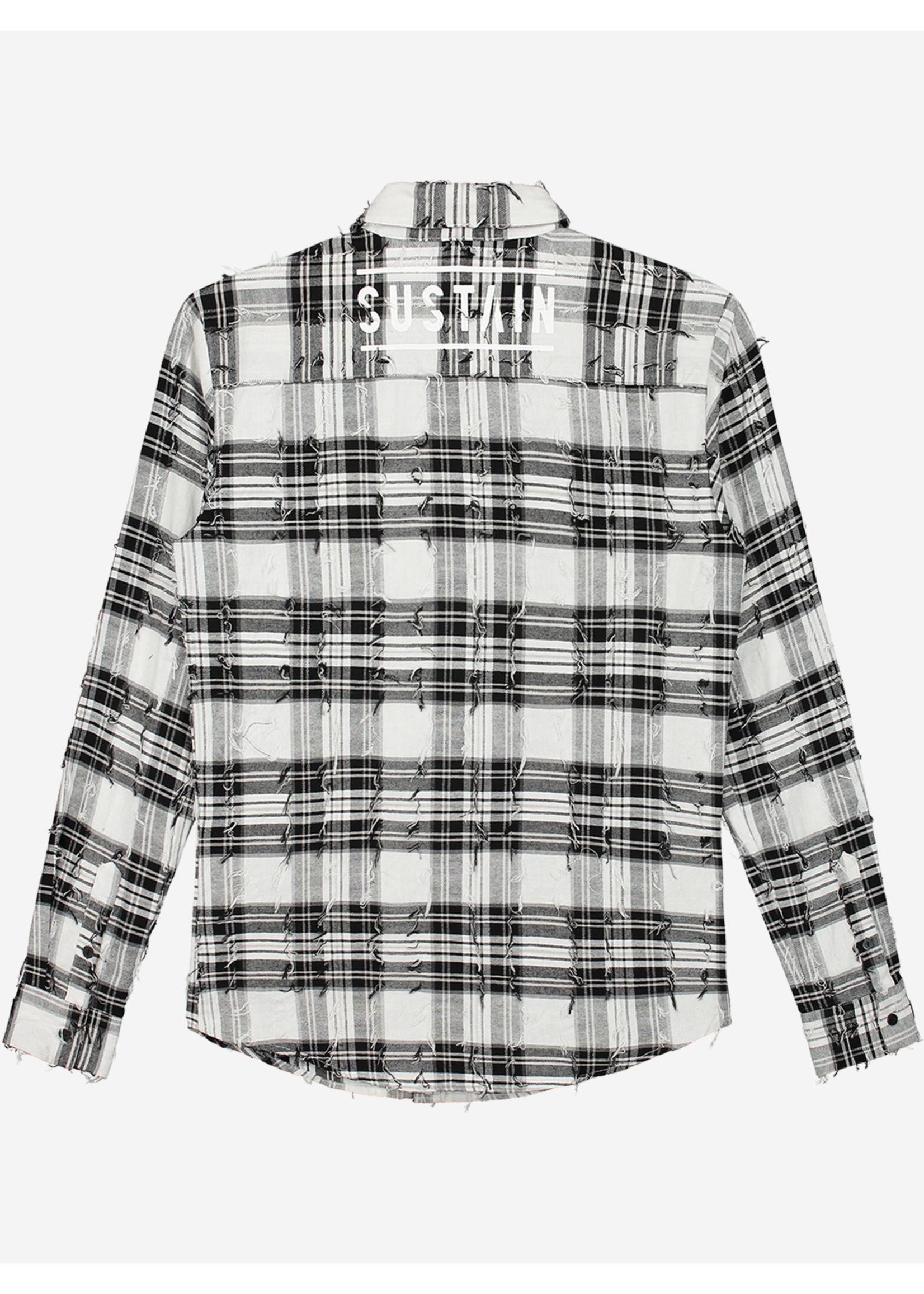 Sustain Sustain  Check Logo Shirt - Black/White