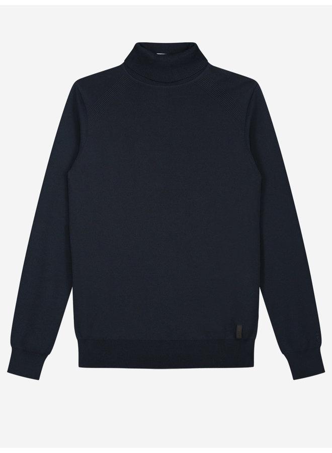 Sustain Knitted Turtleneck Sweater - Navy