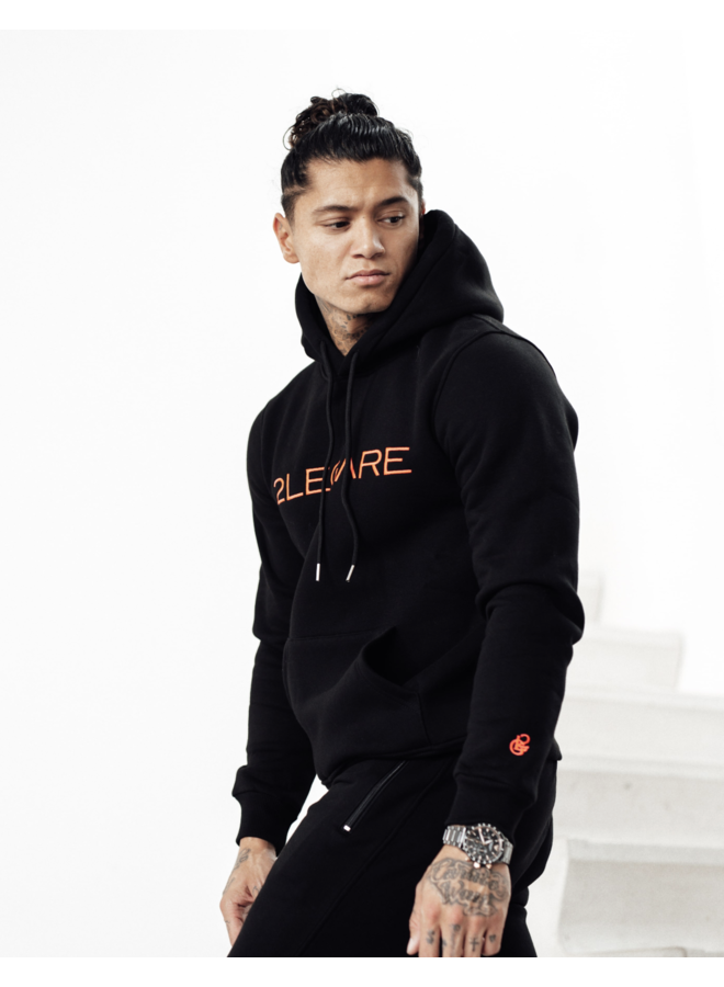 2LEGARE Logo Embroidery Hoodie - Black/Neon Pink