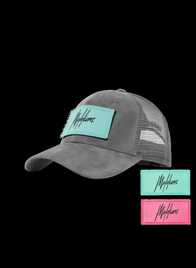 Malelions Velcro Patch Cap - Matte Grey Suede