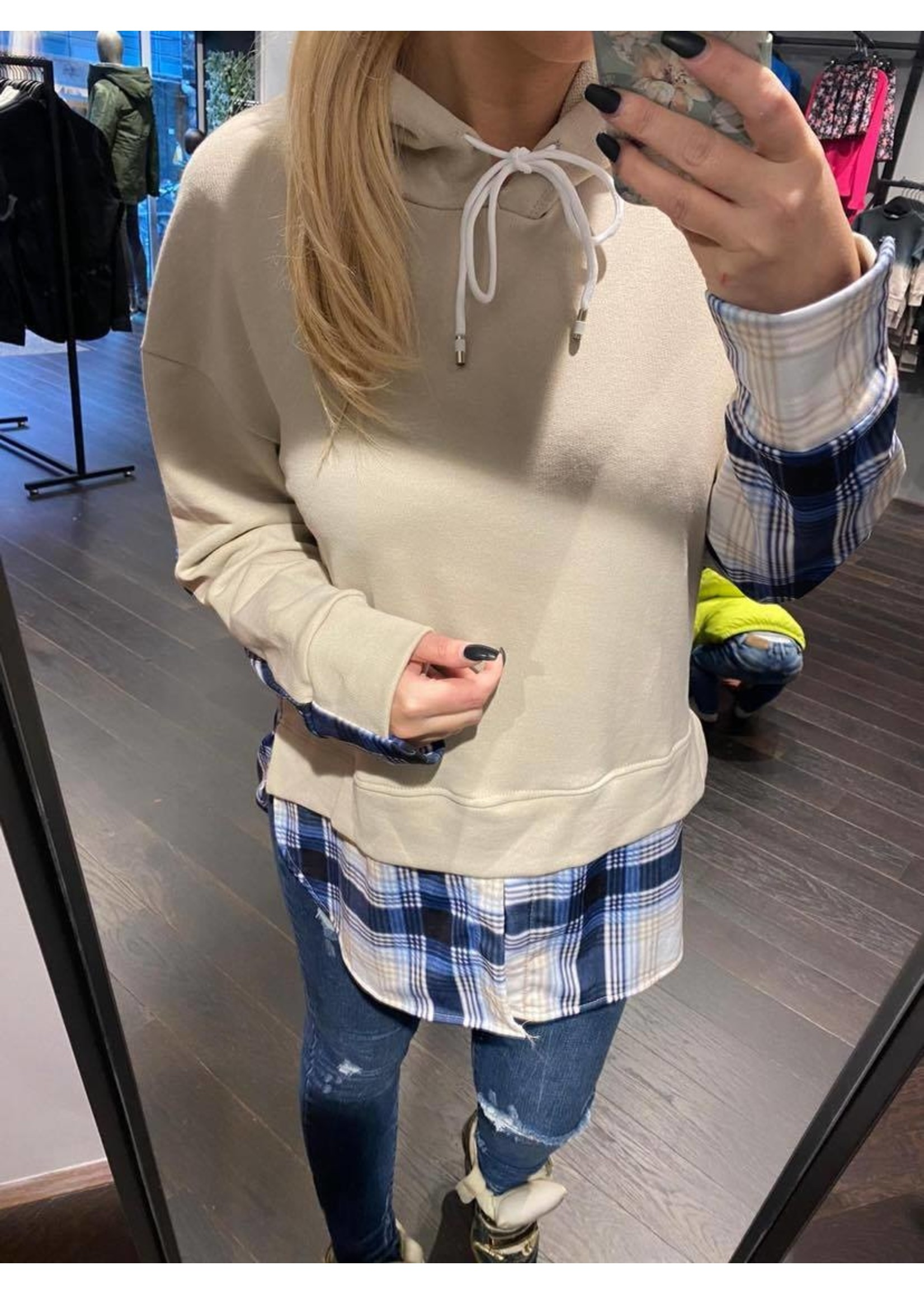 Checkered Blouse Sweater Femke - Beige/Blue