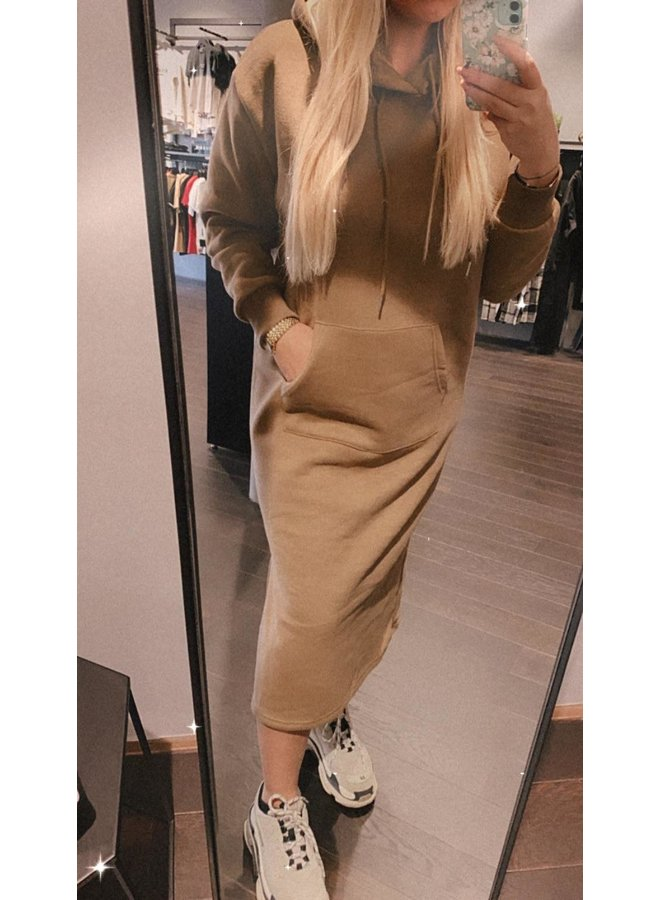 Sweaterdress Hoodie Mil - Taupe