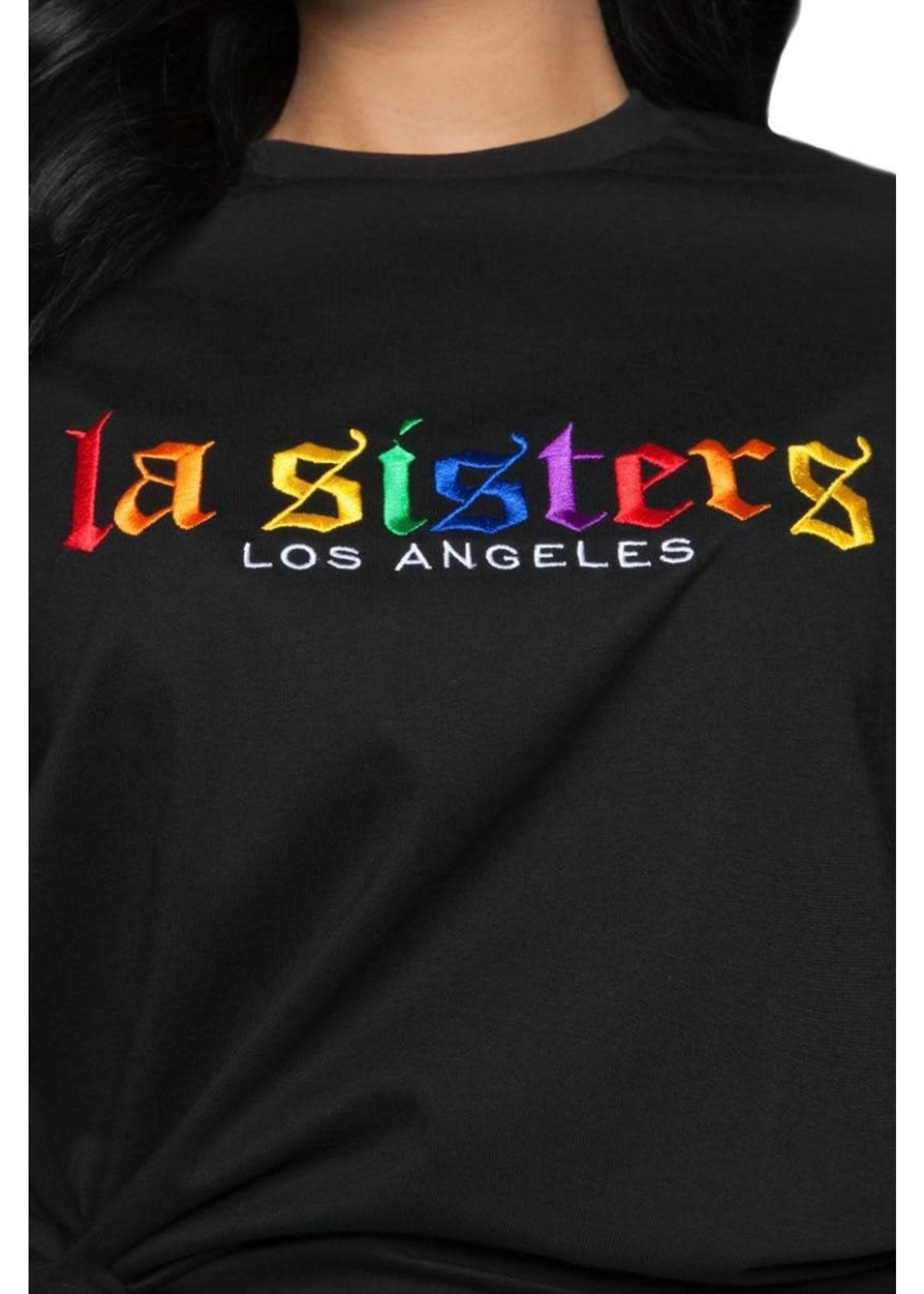 LA Sisters LA Sisters Rainbow Tee - Black