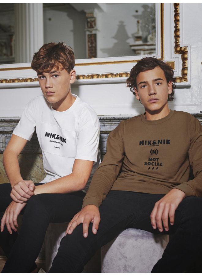 Nik&Nik Not Social Sweater - Warm Brown