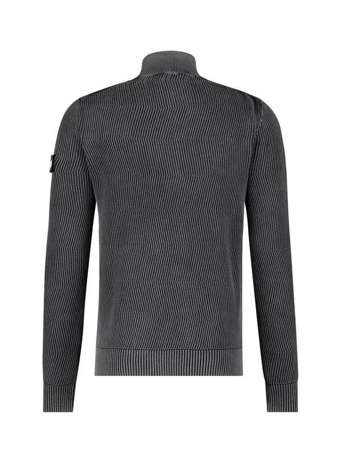 Purewhite Sweater Jacquard Knitted Turtleneck - Black