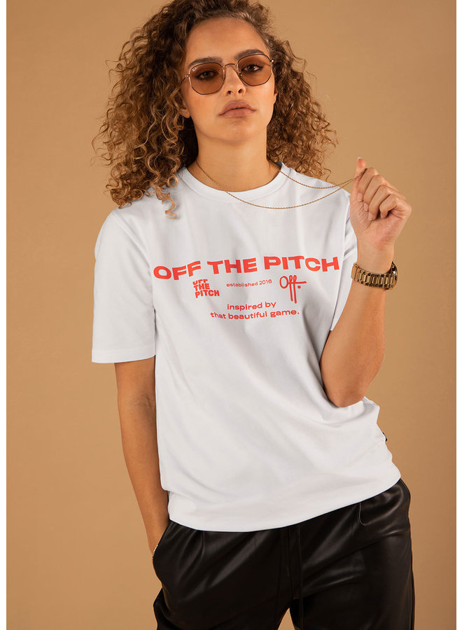 OFF THE PITCH The Sage Tee - White/Orange