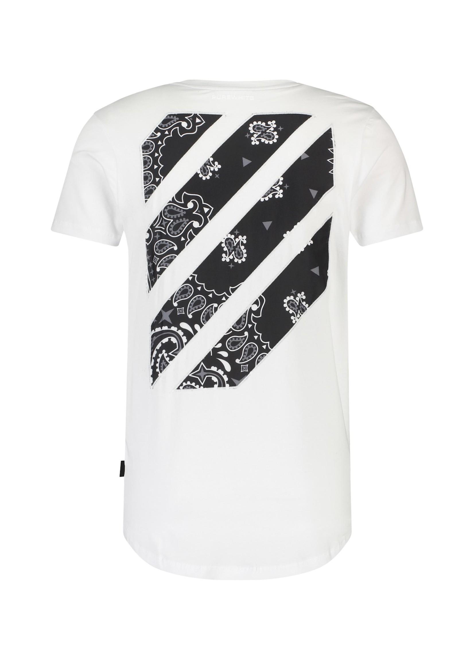Purewhite Diagonal Striped T-shirt - White