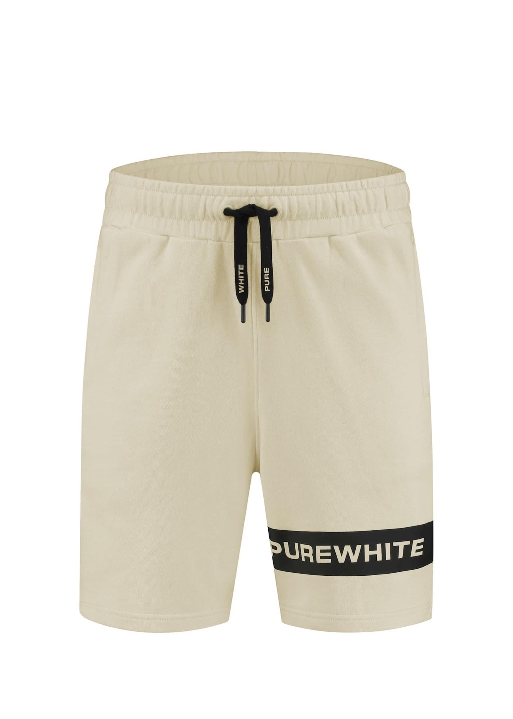 Purewhite Logo Stripe Shorts - Sand