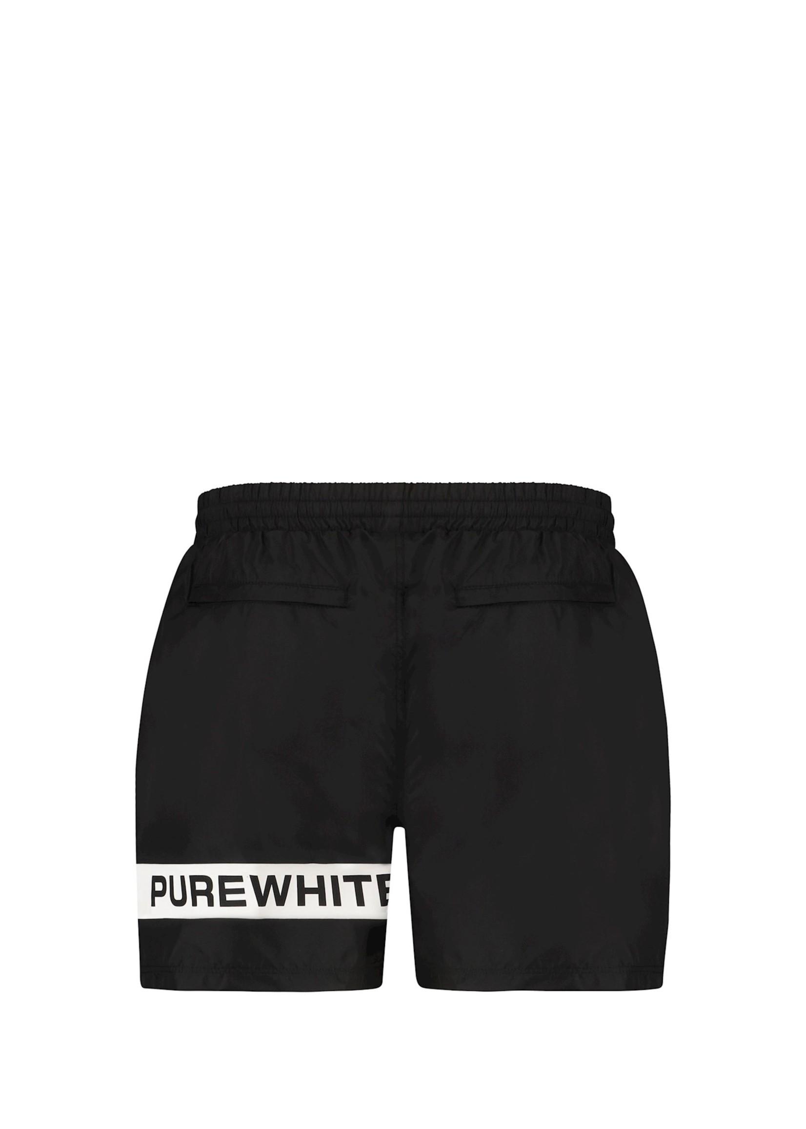 Purewhite Logo Stripe Swim Shorts - Black