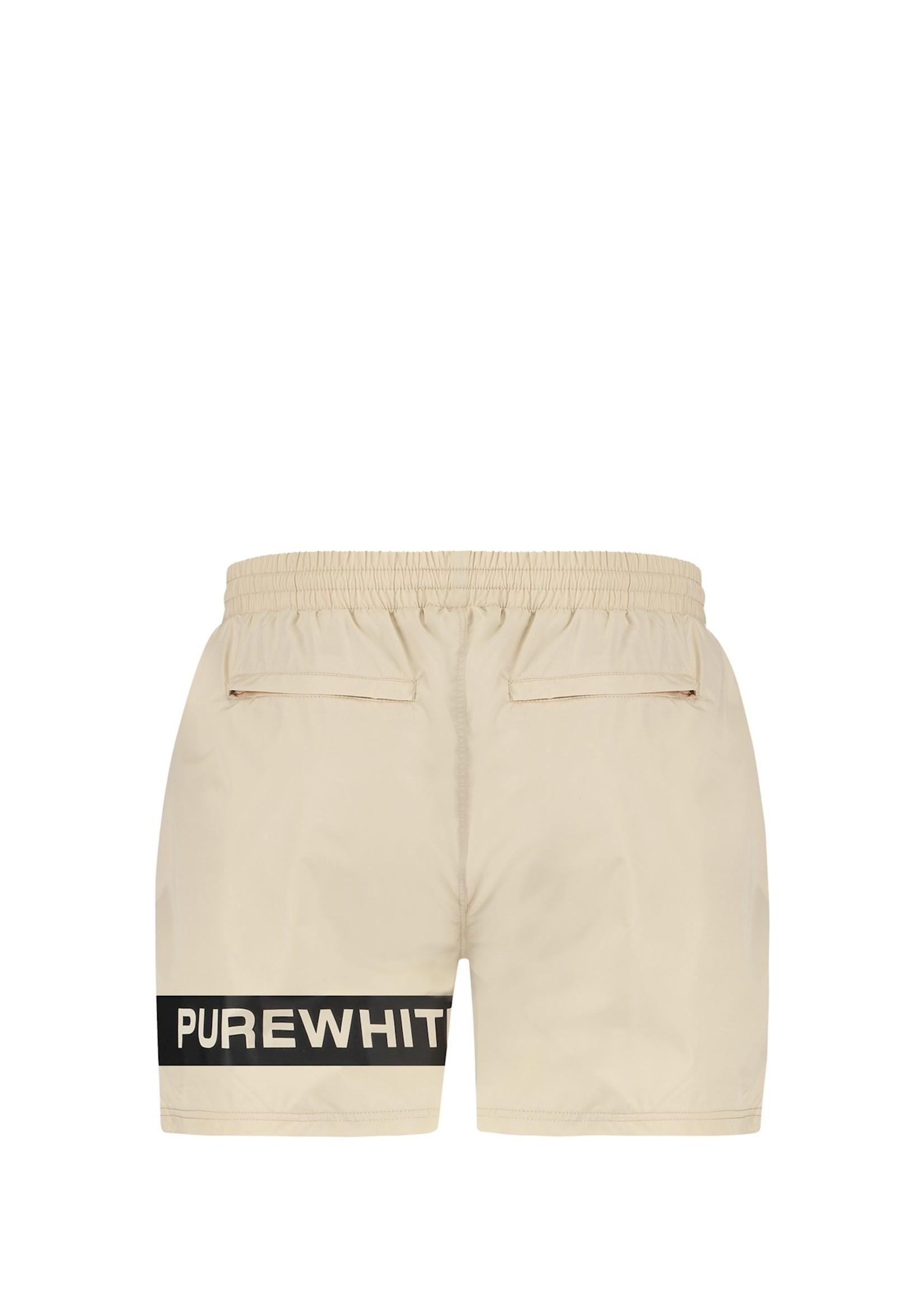 Purewhite Logo Stripe Swim Shorts - Sand