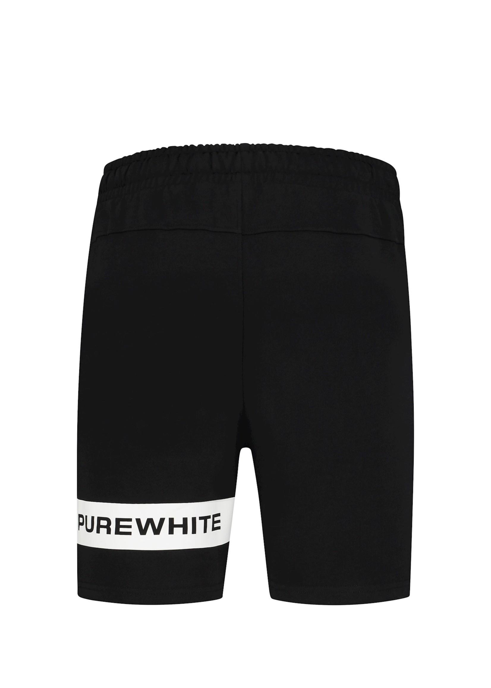 Purewhite Logo Stripe Shorts - Black