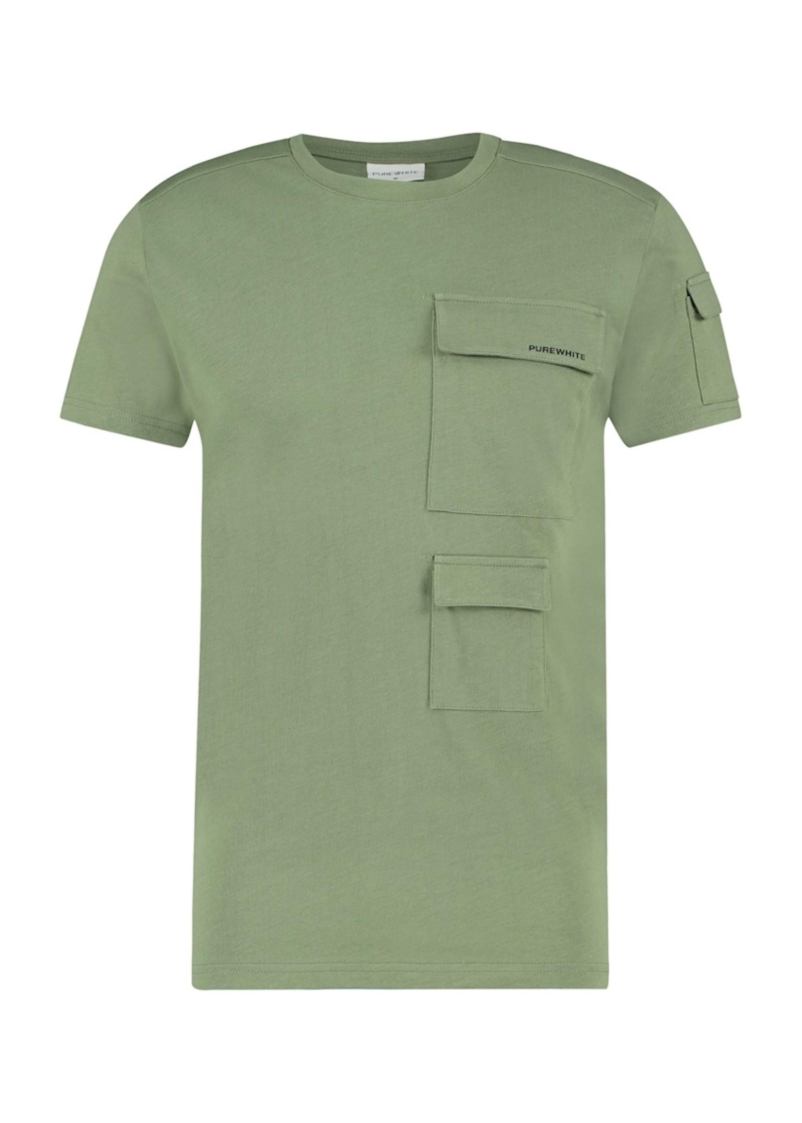 Purewhite T-Shirt Utility Pocket - Army