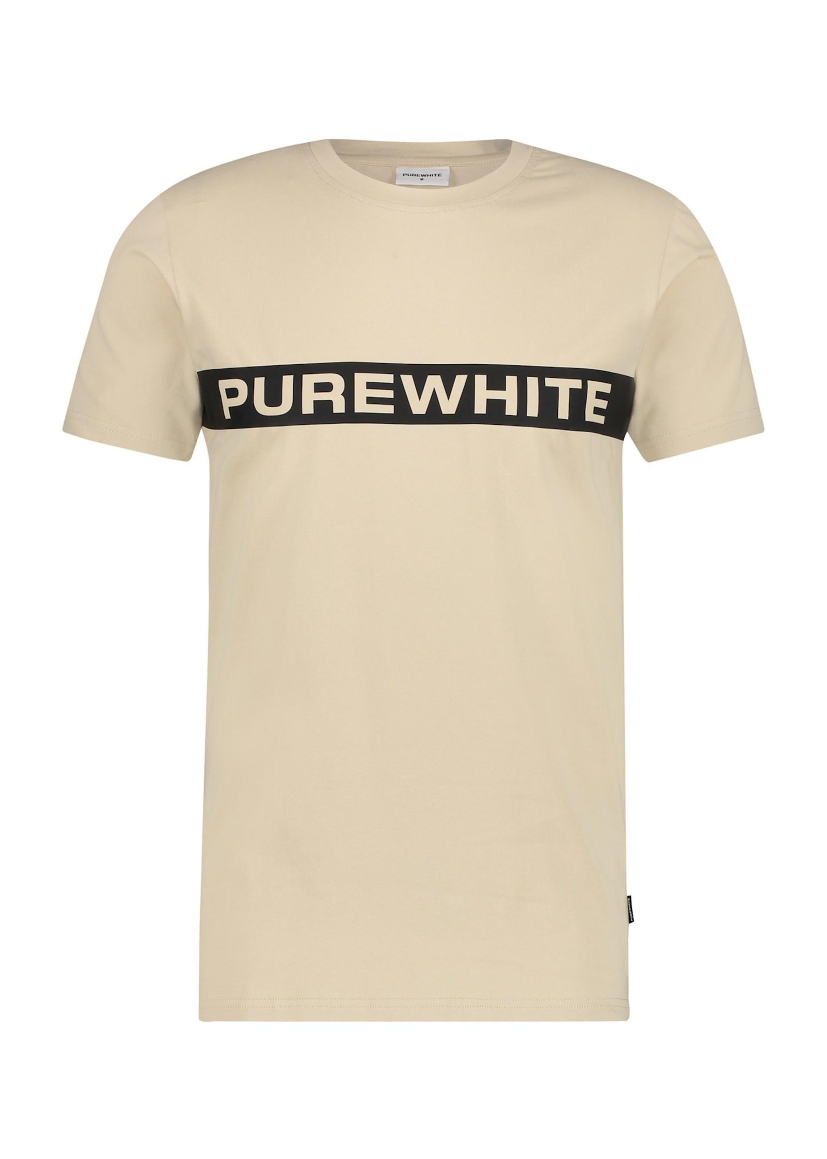 Purewhite Logo Stripe Tee - Sand