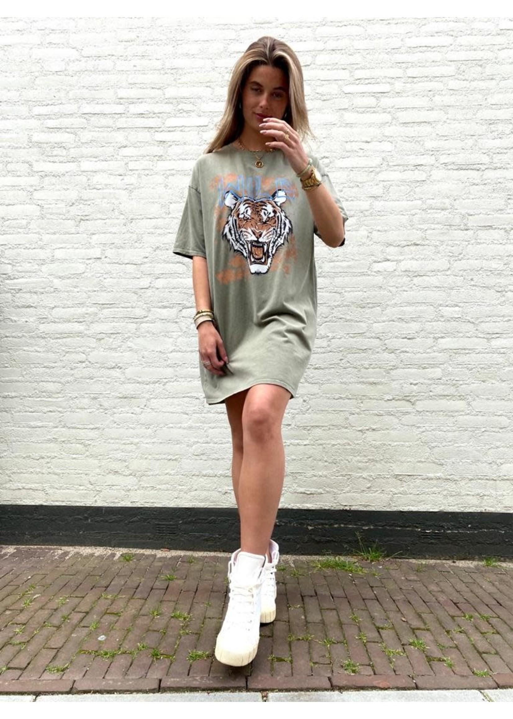 T-Shirt Dress Tiger - Green