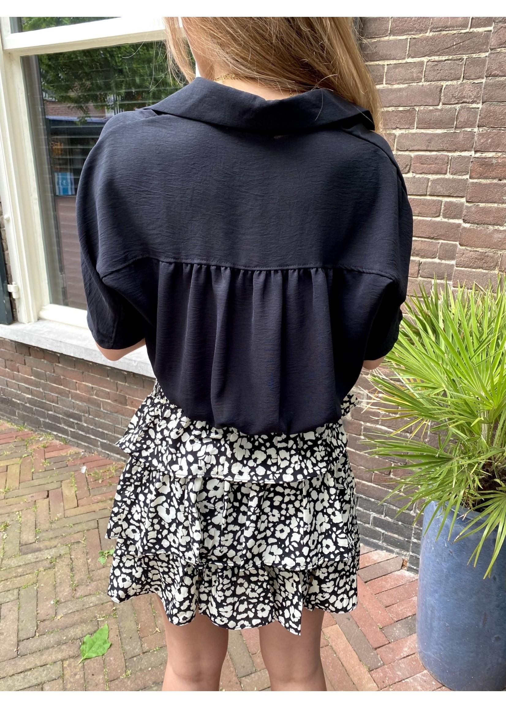 Alba  Short Sleeve Blouse - Black