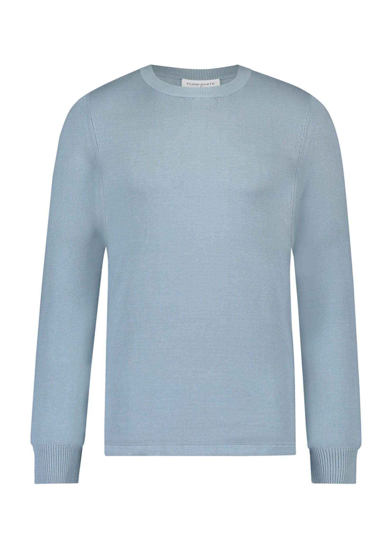 Purewhite Knitted Raglan Sweater - Light Blue