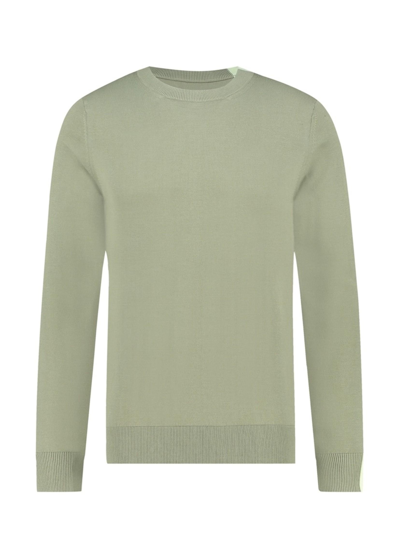 Purewhite Knitted Raglan Sweater - Light Army