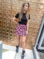 Zena Skirt - Black/Pink