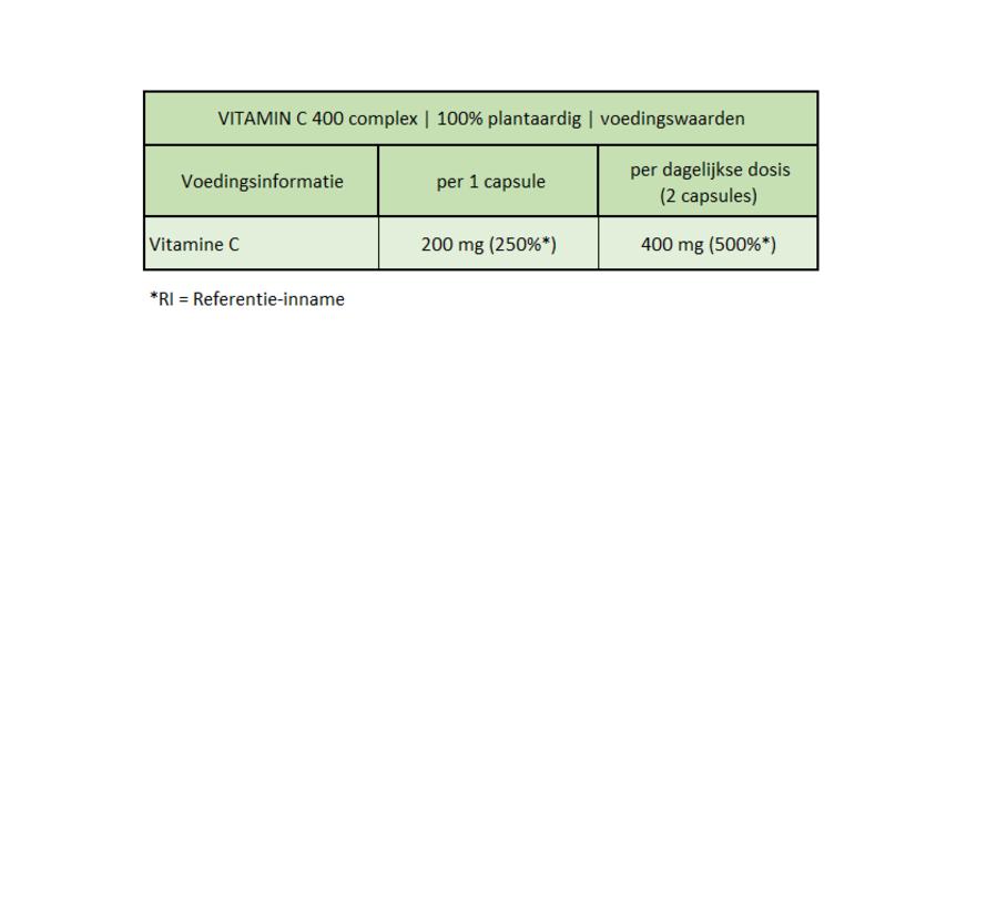 VITAMIN C 400 complex 100% plantaardig (180 tabletten)