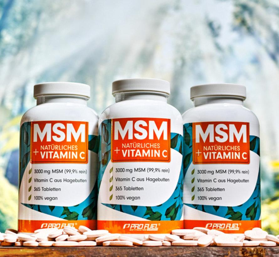 MSM + natuurlijk Vitamine C  365 tabletten