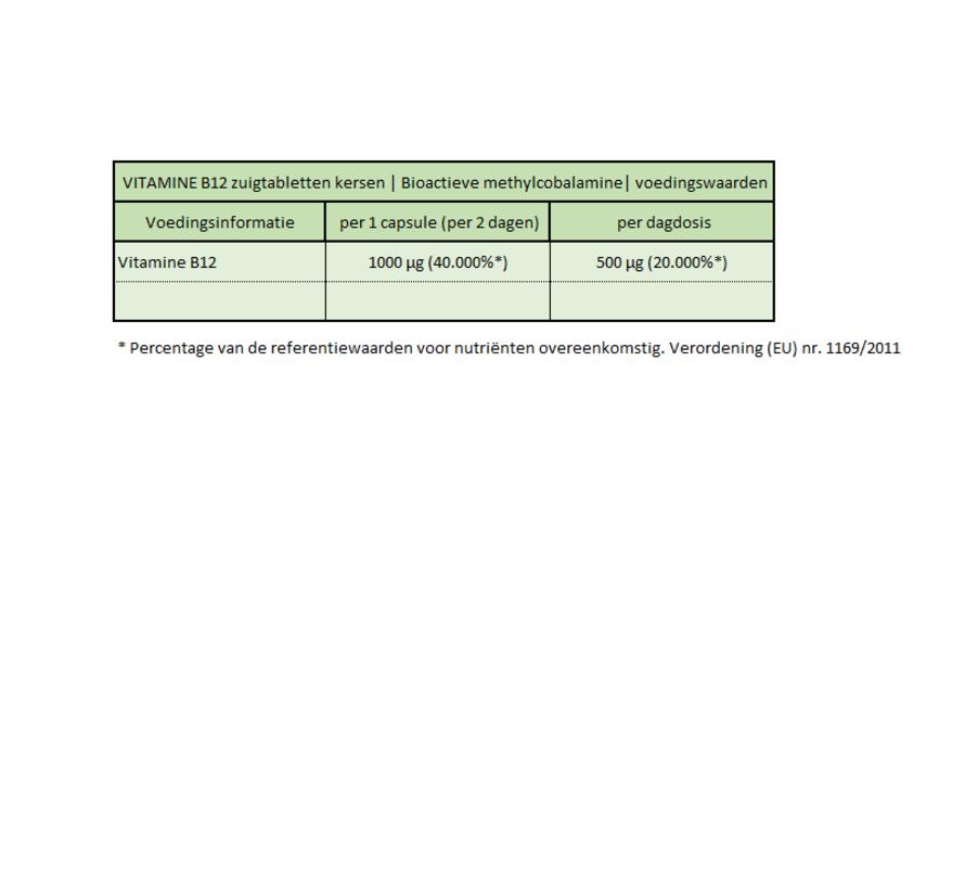 VITAMINE B12  240 zuigtabletten  Kersen