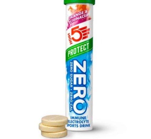 HIGH5 Zero protect drink cafeïne hit, 1 tube met 20 tabletten, orange & echinacea.